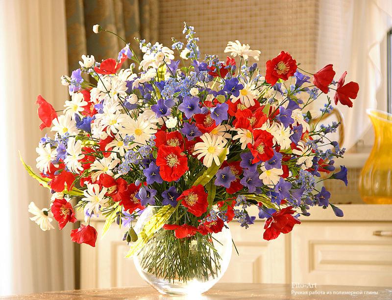 Открытка с полевыми цветами на день рождения, учителя открытка