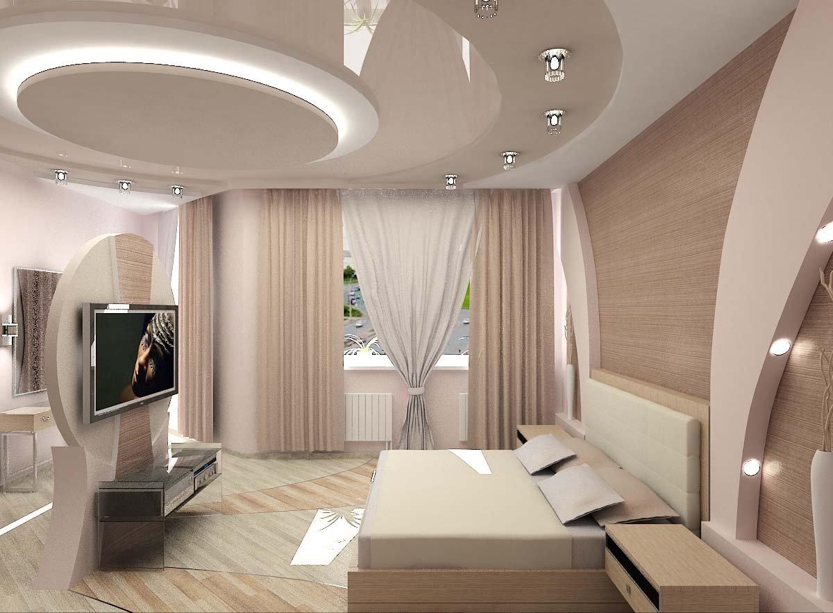 Многоуровневые натяжные потолки с подсветкой в интерьере