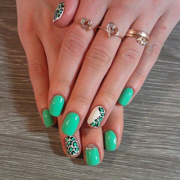 Дизайн покрытия ногтей гель-лаком салатного цвета фото