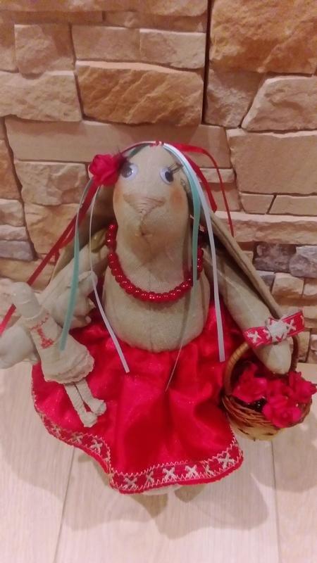 Кролик кукла тильда в украинском  костюме