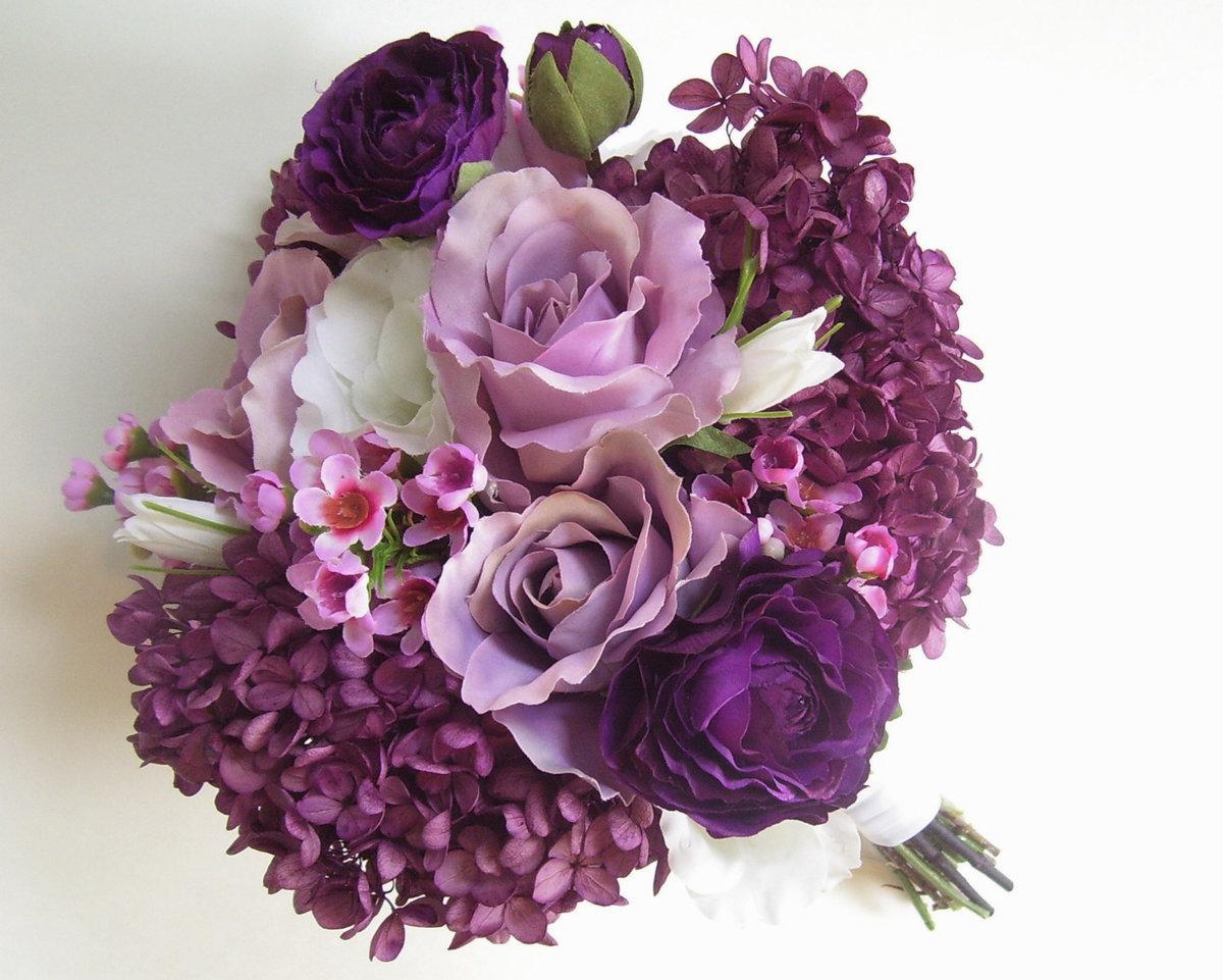 Красивые фиолетовые букеты цветов