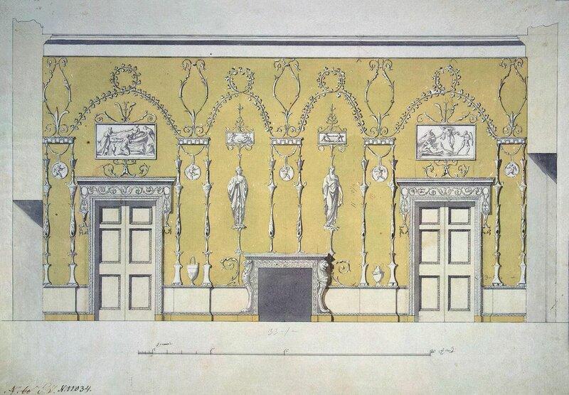 Чарльз Камерон. Проект отделки в Адамовом стиле зелёной столовой Екатерининского дворца.