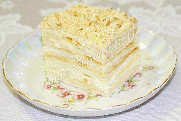 Рецепт торта наполеон с заварным кремом в домашних условиях 125