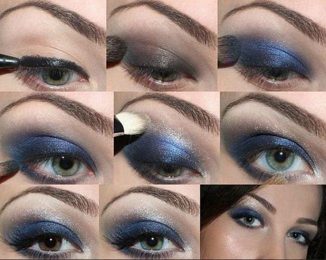 Макияж карие глаза к синему платью фото