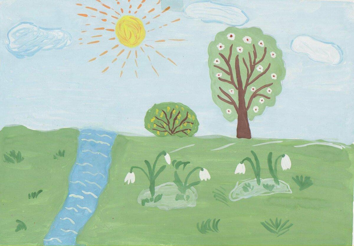 нарисовать рисунок на тему весна вариант