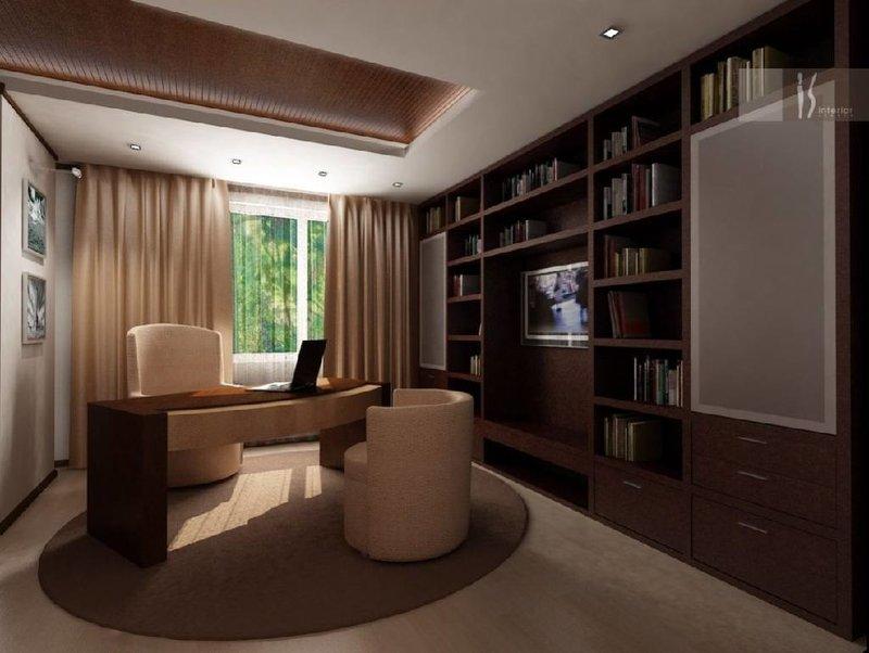 Кабинет в квартире в темно-бежевых тонах. Округлые удобные кресла.