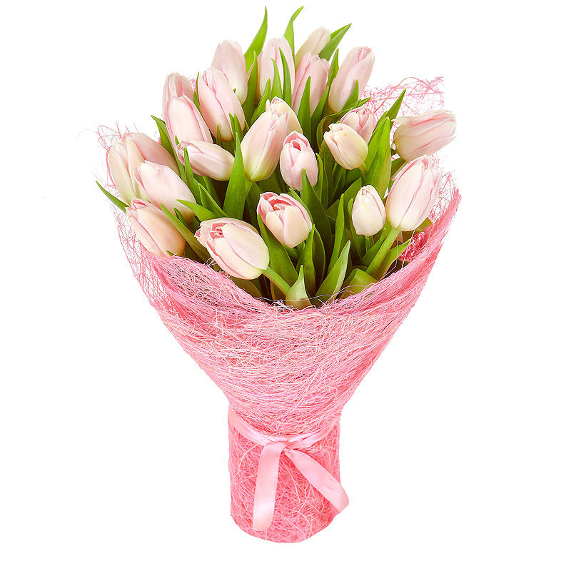 Розовая корзина с бантом из тюльпанов, гиацинтов