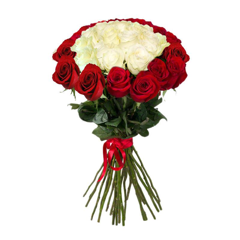 Букеты красных и белых роз, букет японском