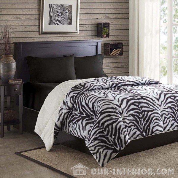 Принт «зебра» в спальне