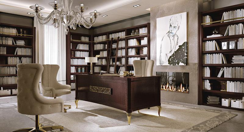 Большая люстра дополнит кабинет не только светом, но также добавит изысканности в интерьер.
