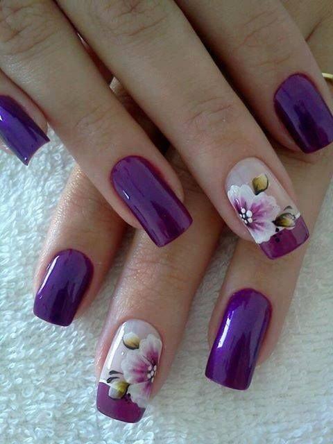 Фиолетовый цвет дизайн ногтей
