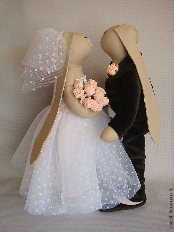 Свадебные зайцы Тильда. Мастер класс с пошаговыми фото