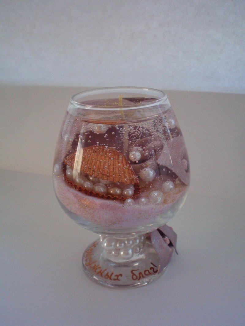 Гелевая свеча в бокале