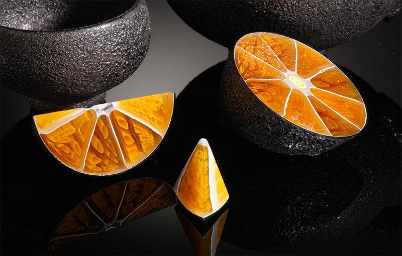 Стеклянные овощи и фрукты