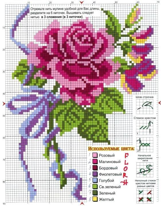 цветок красивая схемы вышивка крестом