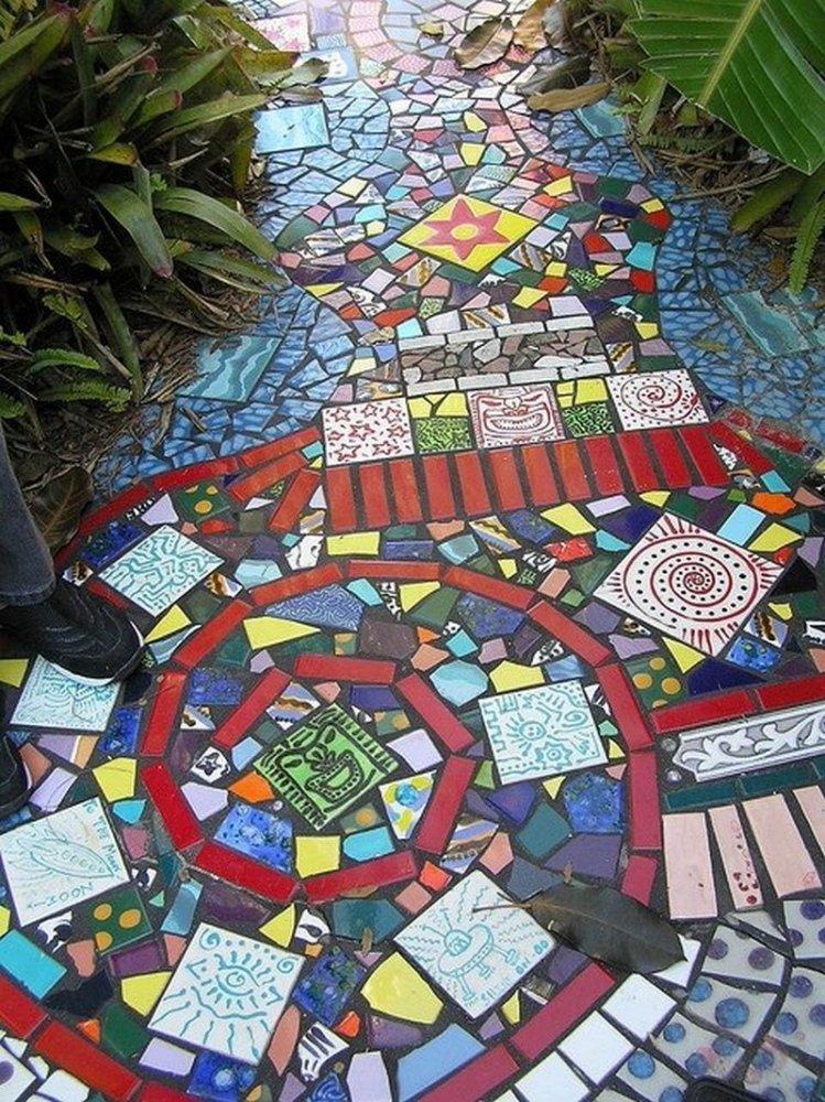 Как сделать мозаику из битых плиток 296
