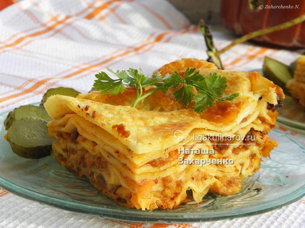 Лазанья с фаршем рецепт без соуса бешамель