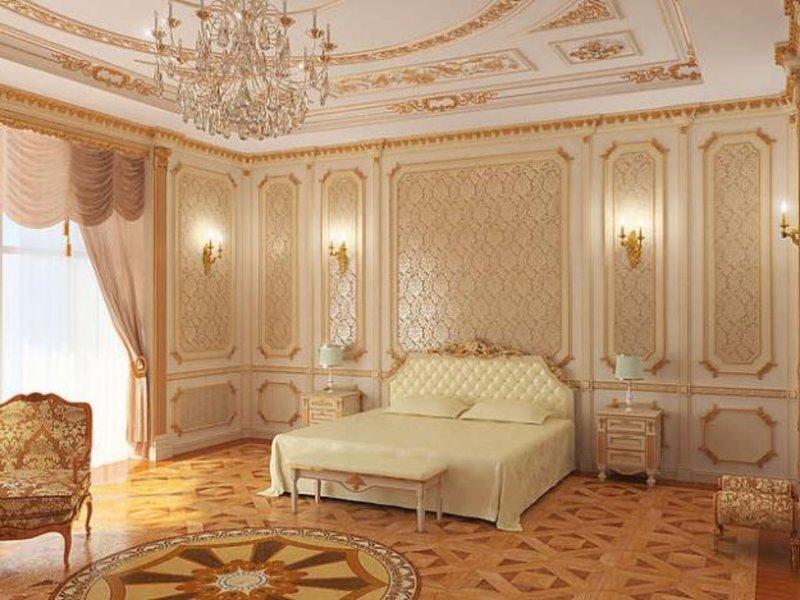 Лепнина в белой спальне