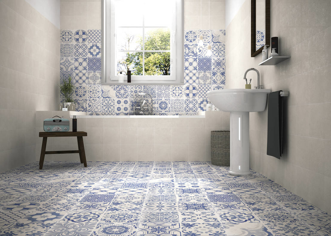 Португальская узорная плитка, украшения для ванной