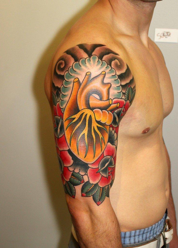 фото тату мужские цветные на плечо если содержание
