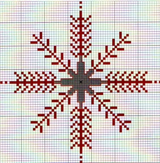 Новогодний мотив «снежинка» — вышивка выполняется крестом из ярко красных нитей, смотрится очень нарядно на любом фоне