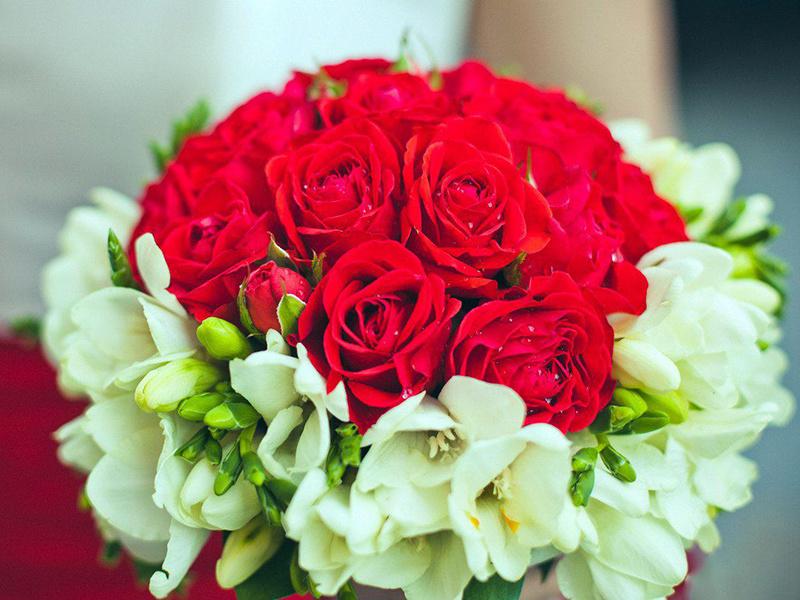 База, букет свадебный яркий из красных роз и фрезий