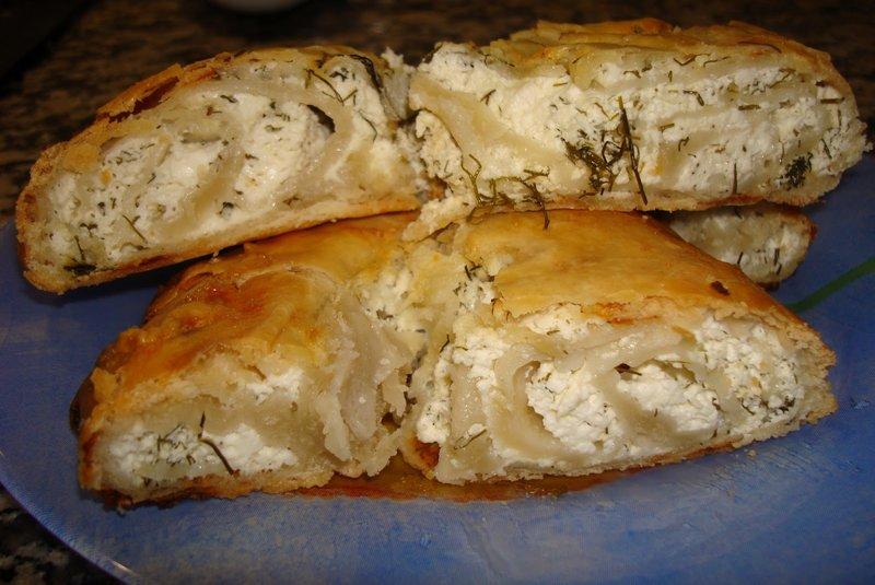 Пирог с брынзой и творогом рецепт