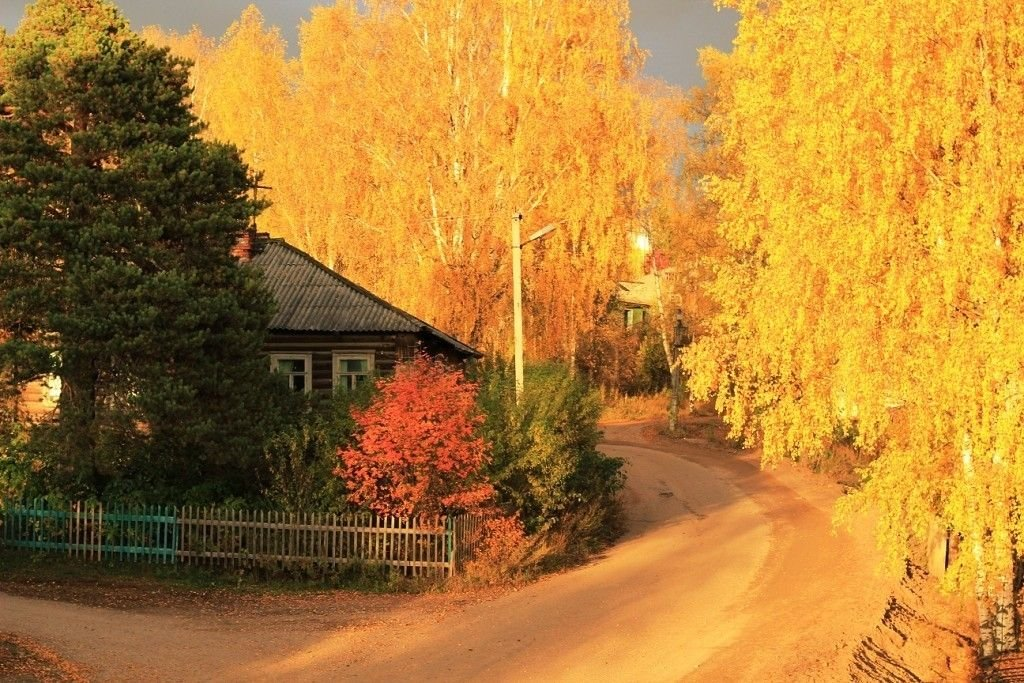 Открытки деревня осенью