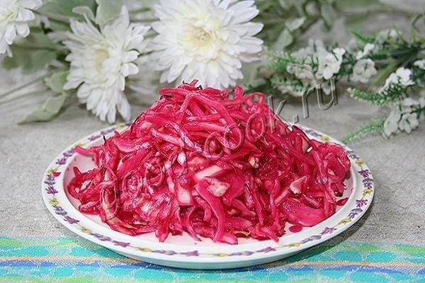 салат капуста со свеклой быстрого приготовления