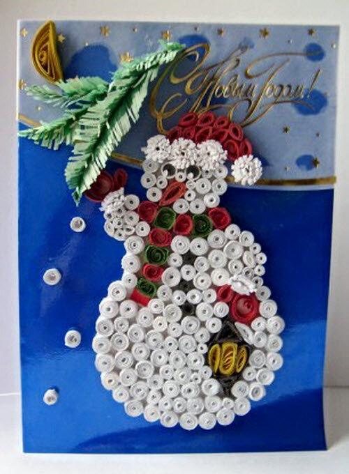 Квиллинг новогодние открытки своими руками, днем рождения