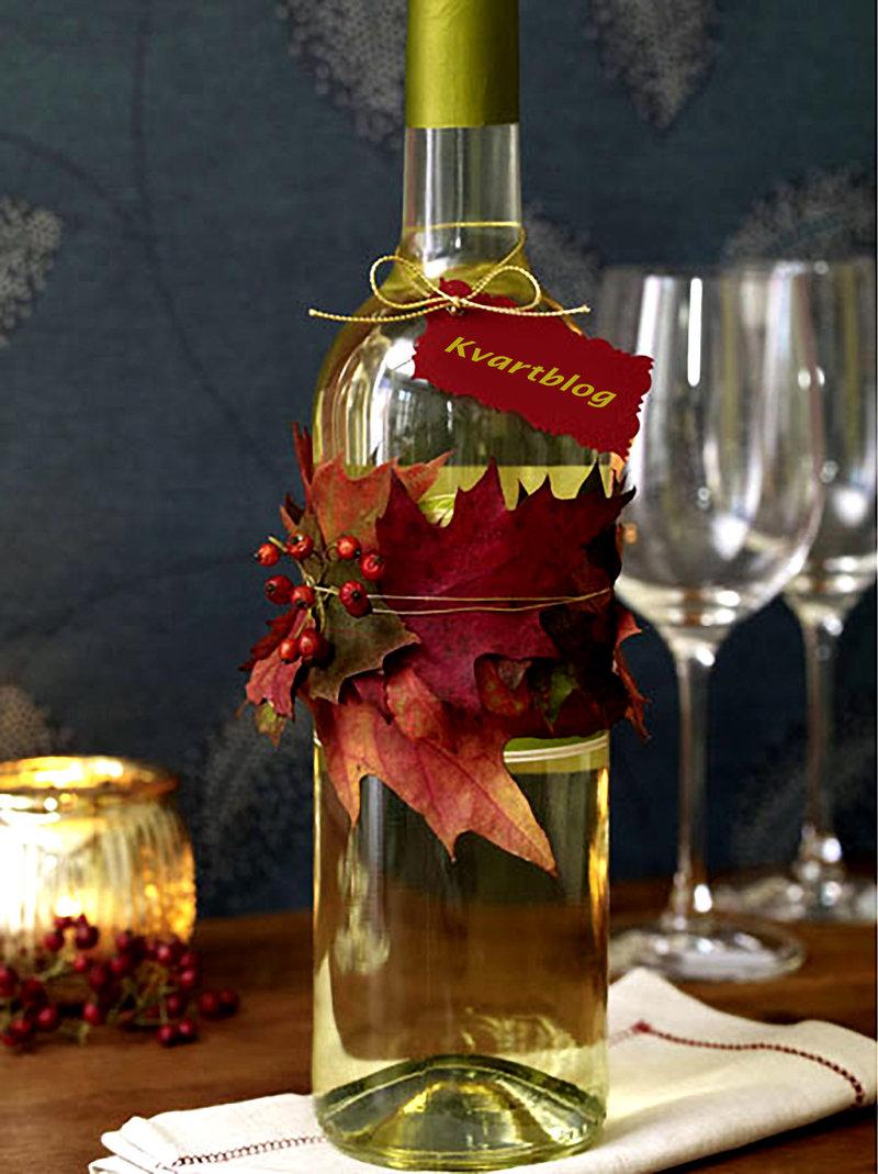 Даже обычную бутылку вина (или лимонада) можно превратить в настоящий осенний подарок.