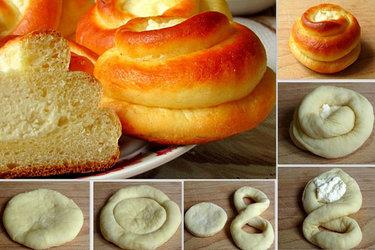 форма булочек пошагово фото
