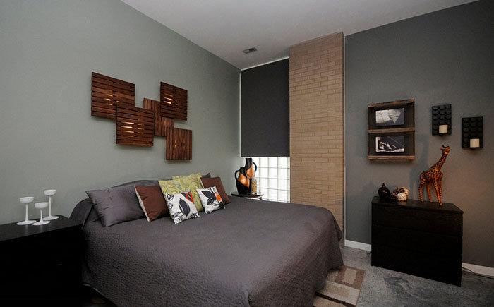 Мужская спальная. Интерьер, ремонт и мебель.