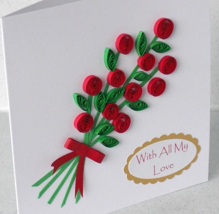 открытка из квиллинга на день рождения пошагово