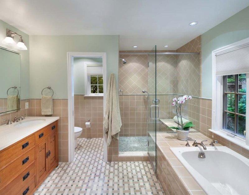 красивый дизайн ванной комнаты с душевой кабиной 15469