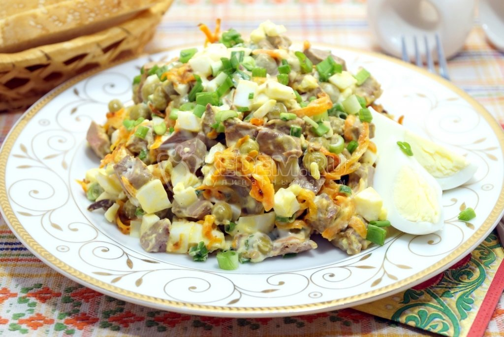 Сочинения салаты из печени куриной рецепты с фото русская