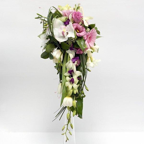 Европейские букеты из орхидеи каскадом, свадебный яркий ромашек