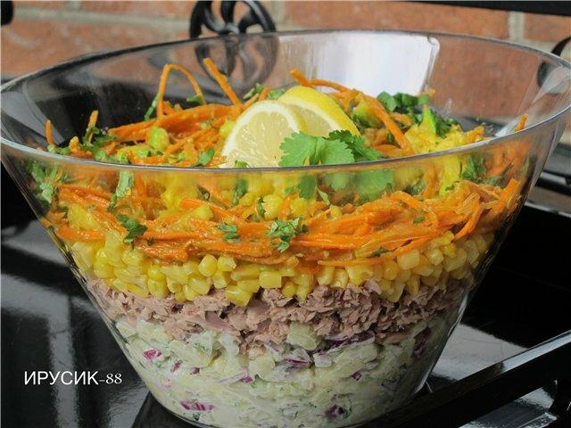 Слоеные салаты тунцом рецепты фото