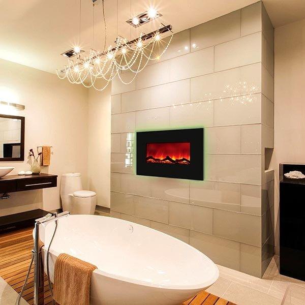 современная ванная комната с камином