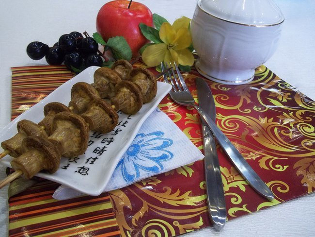 Рецепт овощного шашлыка с баклажанами в духовке