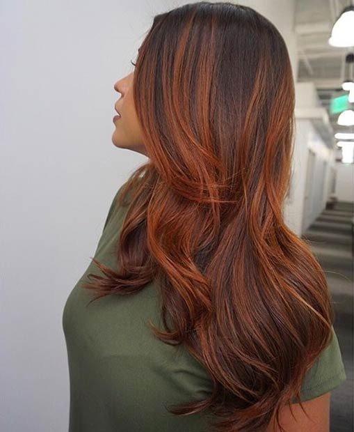 рыжий балаяж на темные волосы фото