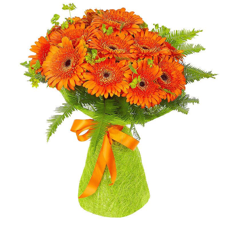 Купить пионы, букет из больших оранжевых ромашек фото