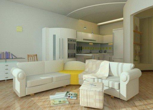 Кухня-гостиная. Интерьер с помощью рельефных линий на потолке.