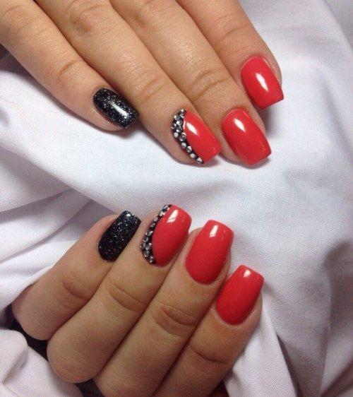 Фото дизайн ногтей гель лак красный с 78