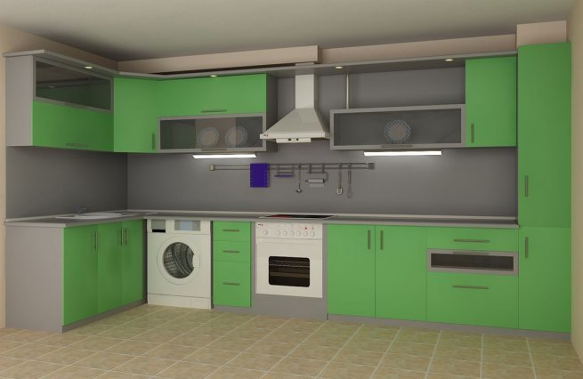 красивая зеленая кухня фото