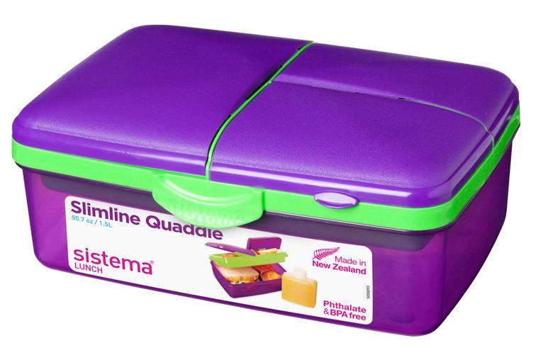 Ланч-Бокс Sistema 4-Х секционный с бутылкой, фиолетовый 1,5л