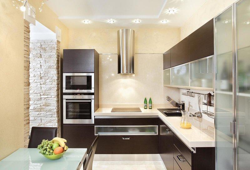 Бежево-коричневая кухня дизайн фото - Дизайн интерьера идеи и фото на