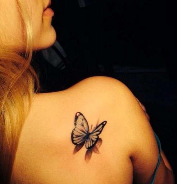 Тату бабочки на лопатке фото