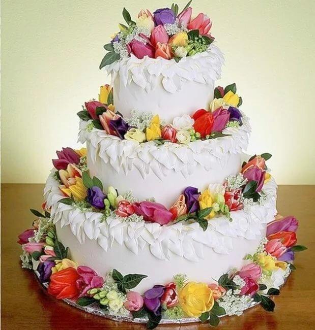 Открытка красивый большой торт