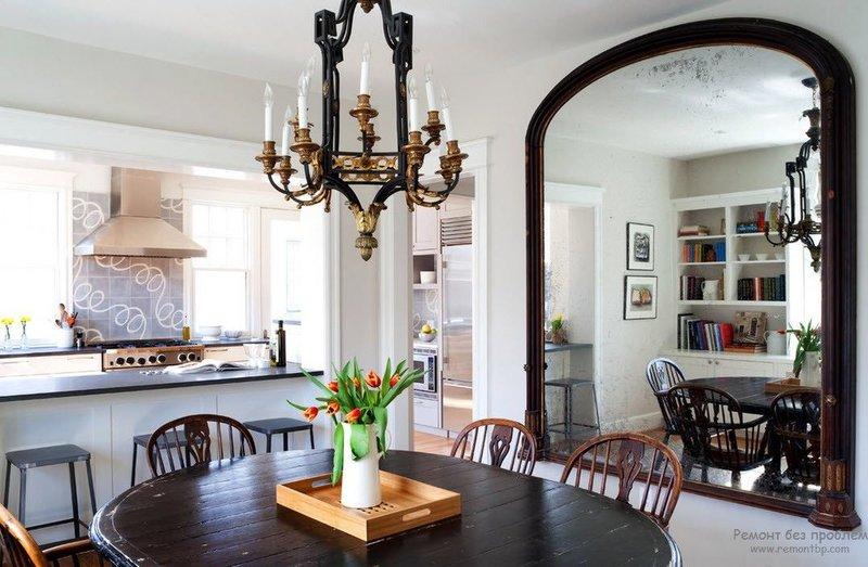 Большие и маленькие зеркала в интерьере квартиры. Интерьер и дизайн кухни, спальной, прихожей, коридора и ванной с декоративными зеркалами на фото.